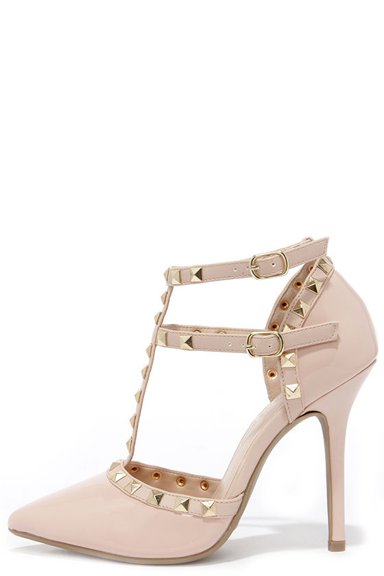 Cute Nude Shoes - T-Strap Heels - Studded Shoes - $35.00