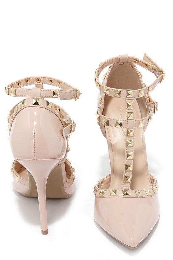 e0190ef273 Wild Diva Lounge Adora 64 Nude Patent Studded Pointed Heels