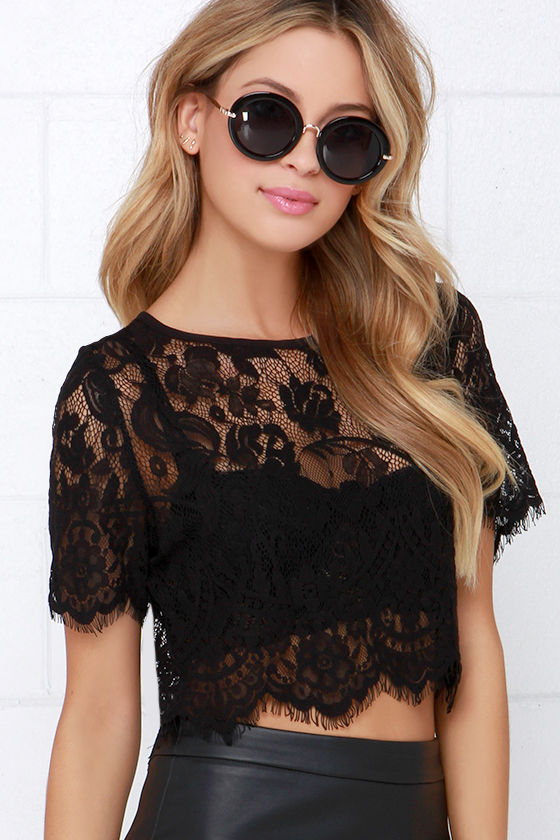 Chic Black Top Lace Top Crop Top Scalloped Top 45 00