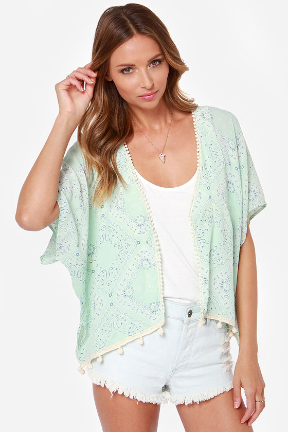 Lucy Love Mississippi Mint Green Print Top at Lulus.com!