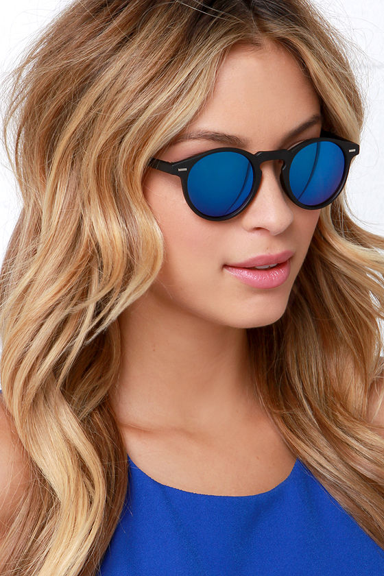 9a1e4c591d Black Sunglasses - Blue Mirrored Sunglasses -  12.00