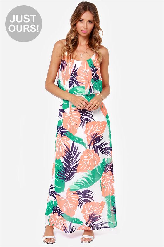 ef4dd325f74 Cute Maxi Dress - Leaf Print Dress - Tropical Print Dress -  49.00