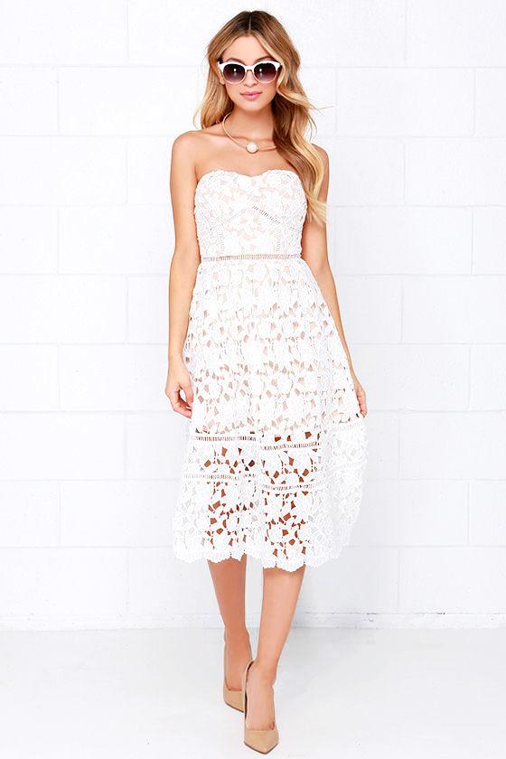 Lace Dress - Ivory Dress - Midi Dress - White Dress -  64.00 35748bb12
