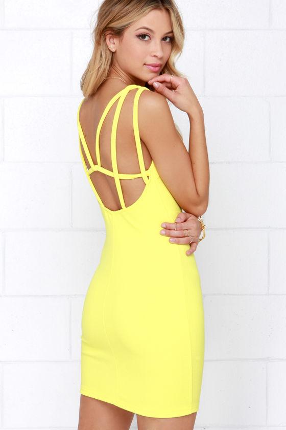 71d41da27784 Yellow Dress - Bodycon Dress - Sleeveless Dress -  56.00