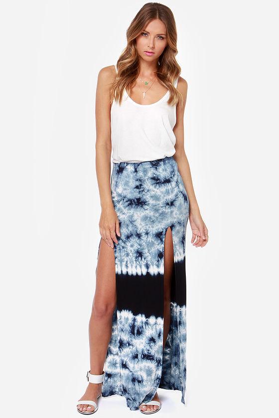 blue skirt tie dye skirt maxi skirt 61 00