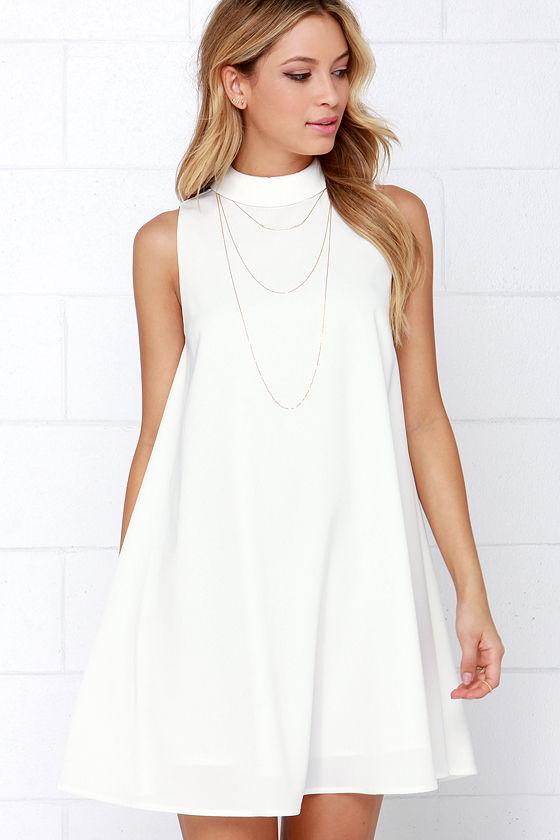 Cute Ivory Dress Sleeveless Dress Swing Dress White