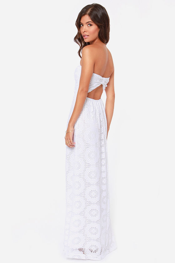 No Less Than Flawless Strapless White Lace Maxi Dress at Lulus.com!