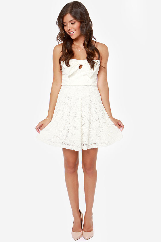 Bow One Does It Better Ivory Lace Dress at Lulus.com!