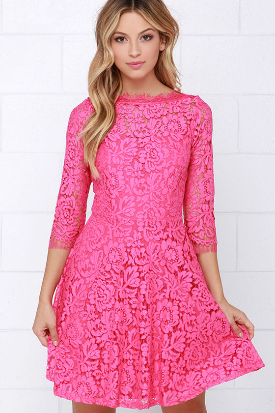 Beautiful Lace Dress - Pink Dress - Skater Dress - $64.00