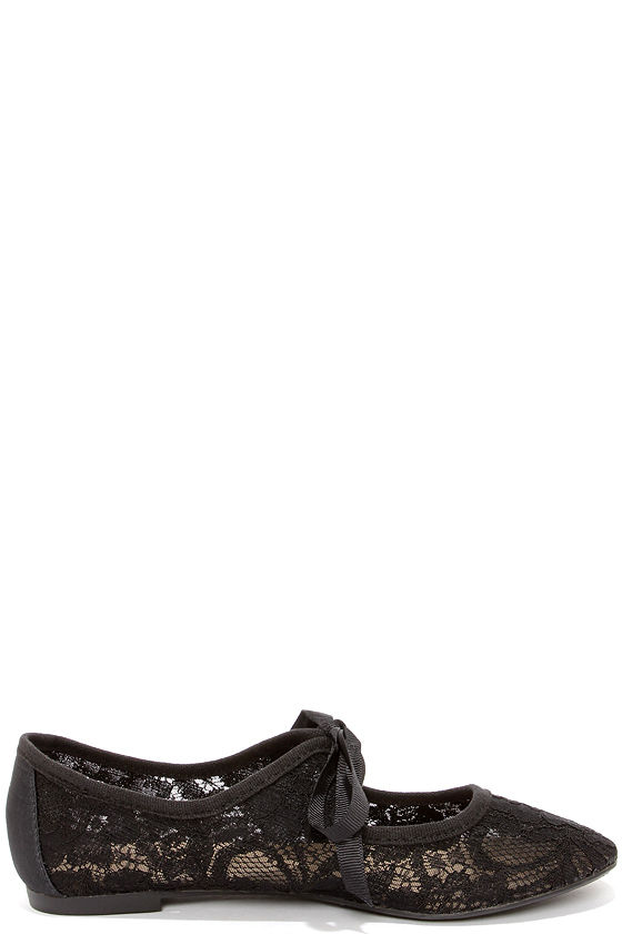 Restricted Sara Black Lace Flats at Lulus.com!