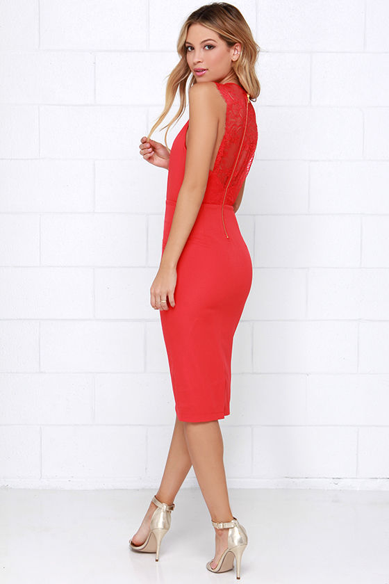 Sultry Red Dress - Midi Dress - Lace Dress - $49.00