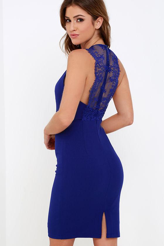 6441284d14f Sultry Royal Blue Dress - Midi Dress - Lace Dress -  49.00