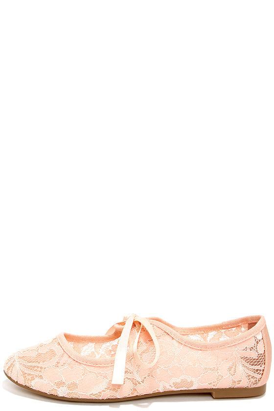 Cute Blush Flats - Lace Shoes - Pink