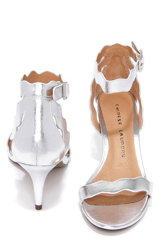 e948ce1ab1e Pretty Silver Heels - Kitten Heels - Dress Sandals -  69.00