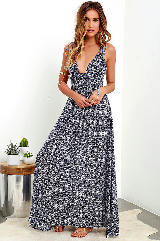 Lovely Navy Blue Print Dress - Print Maxi Dress - Sleeveless Maxi ...