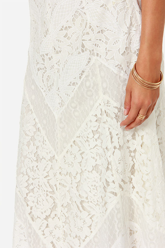 Drifting Moonlight Ivory Lace Maxi Skirt at Lulus.com!