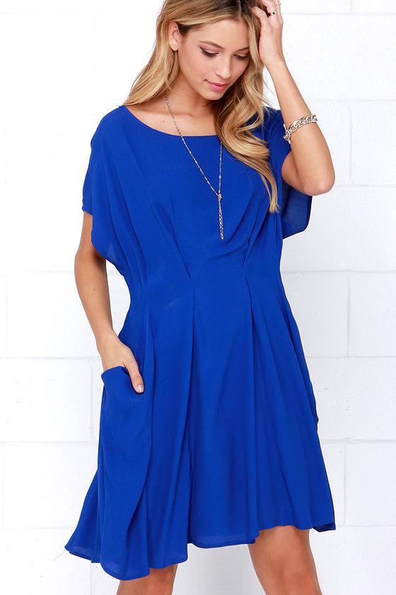 - Cute Royal Blue Dress - Pleated Dress - Short Sleeve Dress - $62.00