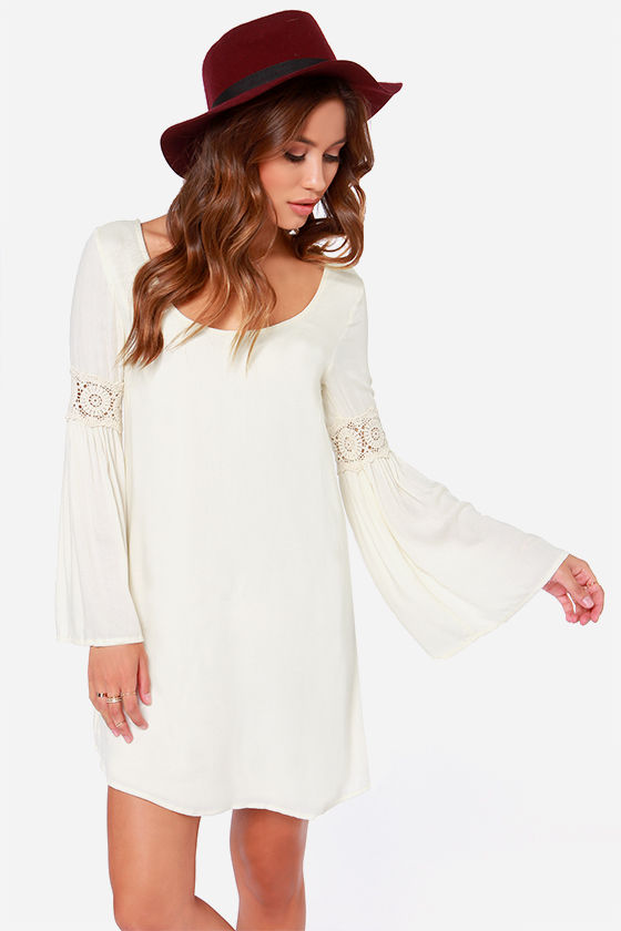 Coveted Company Long Sleeve Cream Shift Dress at Lulus.com!