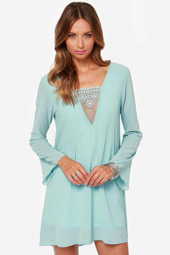 Pretty Light Blue Dress - Lace Dress - Long Sleeve Dress - $42.00