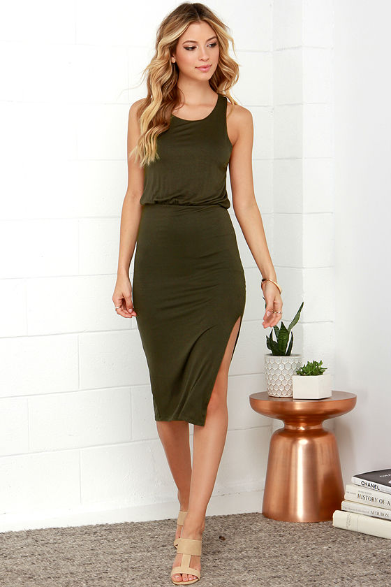 Chic Olive Green Dress - Midi Dress - Sleeveless Dress - $45.00