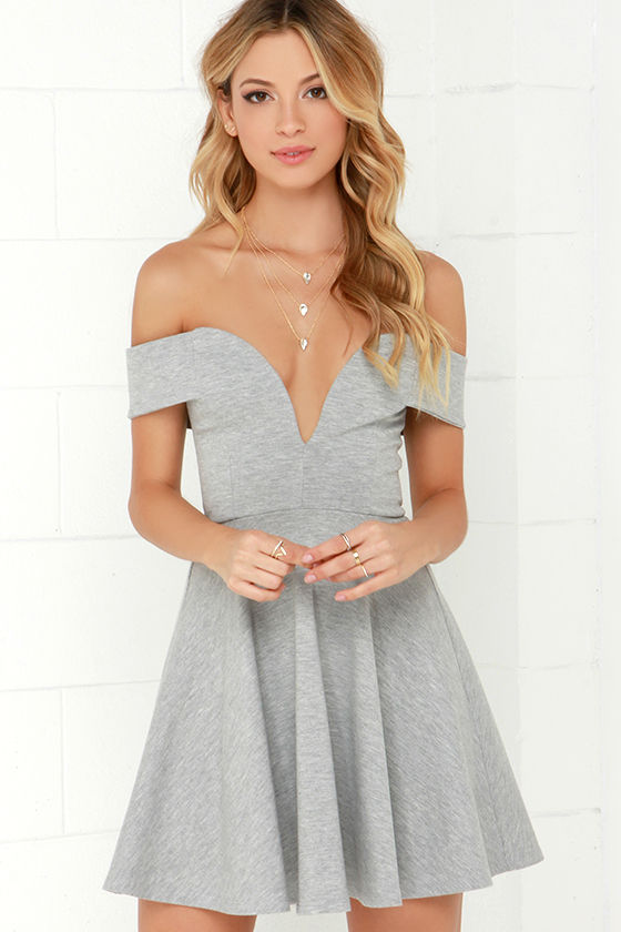 8bcc28ead3a5 Cute Off-the-Shoulder Dress - Heather Grey Dress - Skater Dress -  49.00