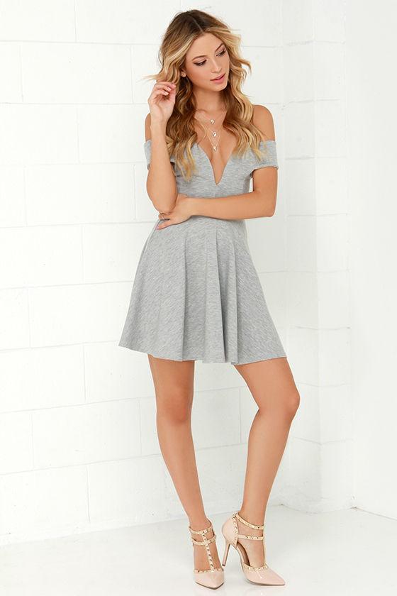 b9f9ce6a12b Cute Off-the-Shoulder Dress - Heather Grey Dress - Skater Dress - $49.00