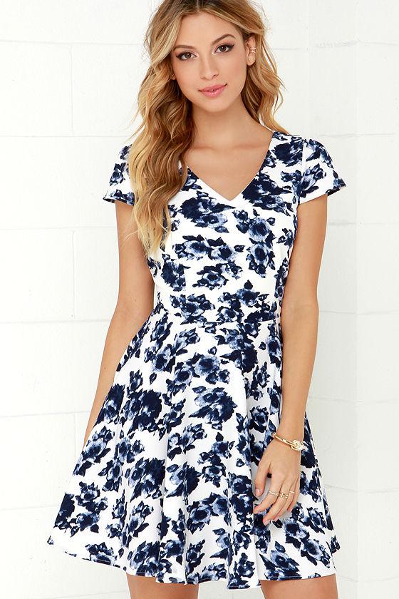 Ivory and Navy Blue Dress - Floral Print Dress - Skater Dress - $49.00