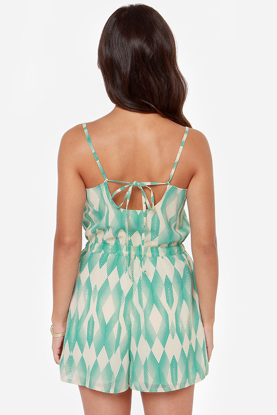 Roxy Tainted Love Cream and Turquoise Print Romper at Lulus.com!