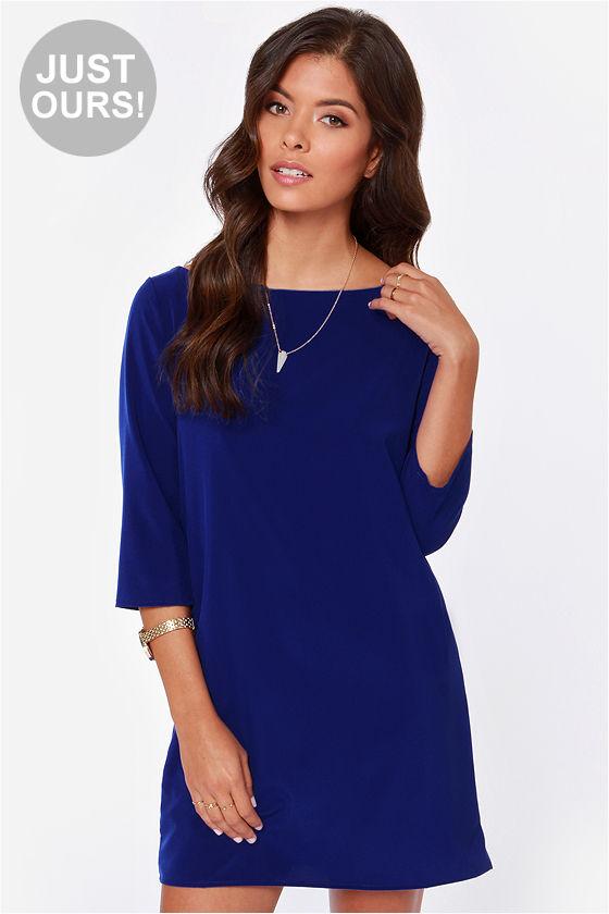 Pretty Royal Blue Dress - Shift Dress - $39.00