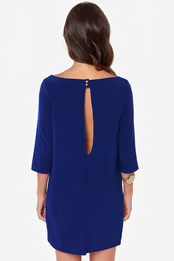 LULUS Exclusive Open Heart Royal Blue Shift Dress at Lulus.com!