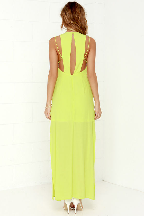 Sexy Chartreuse Dress - Maxi Dress - Racerback Dress - $54.00
