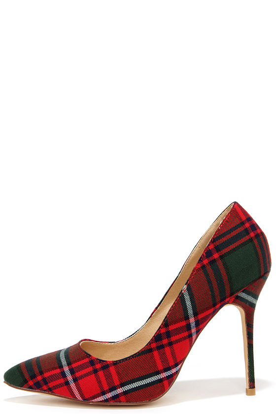 detailed pictures skate shoes cheap for sale Who's Plaid! Red Plaid Pumps