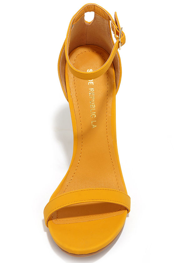 Cute Yellow Heels - Ankle Strap Heels - High Heel Sandals - $34.00