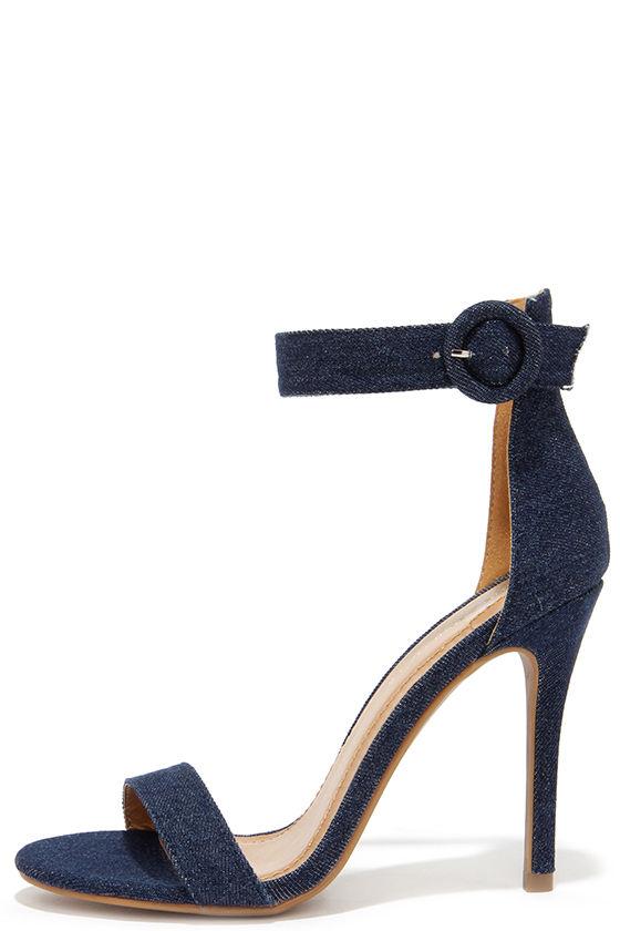 Cute Dark Blue Heels - Denim Heels - High Heel Sandals - $32.00