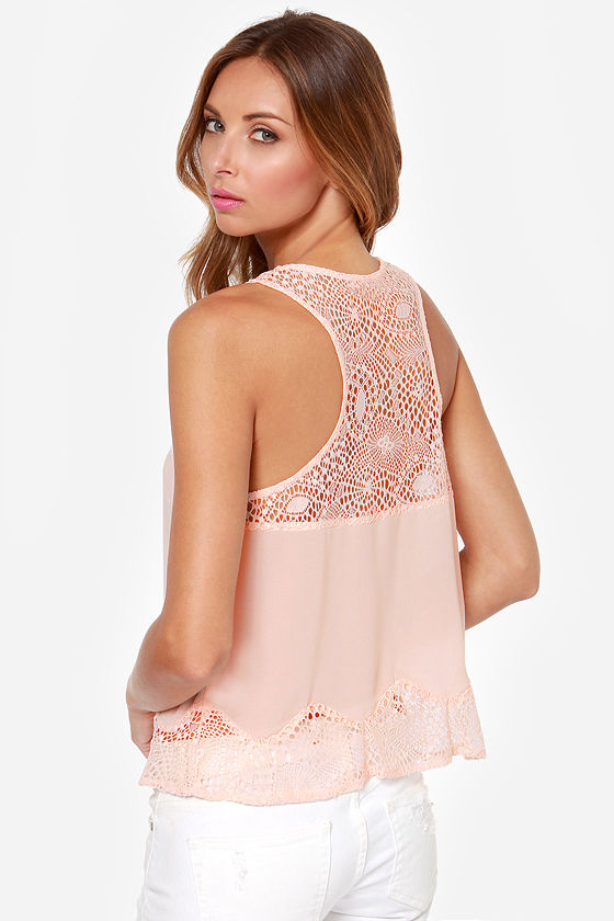 Call it a Dainty Peach Lace Top at Lulus.com!
