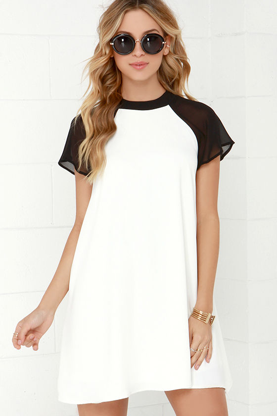 Black and Ivory Dress - Swing Dress - Color Block Dress - $47.00
