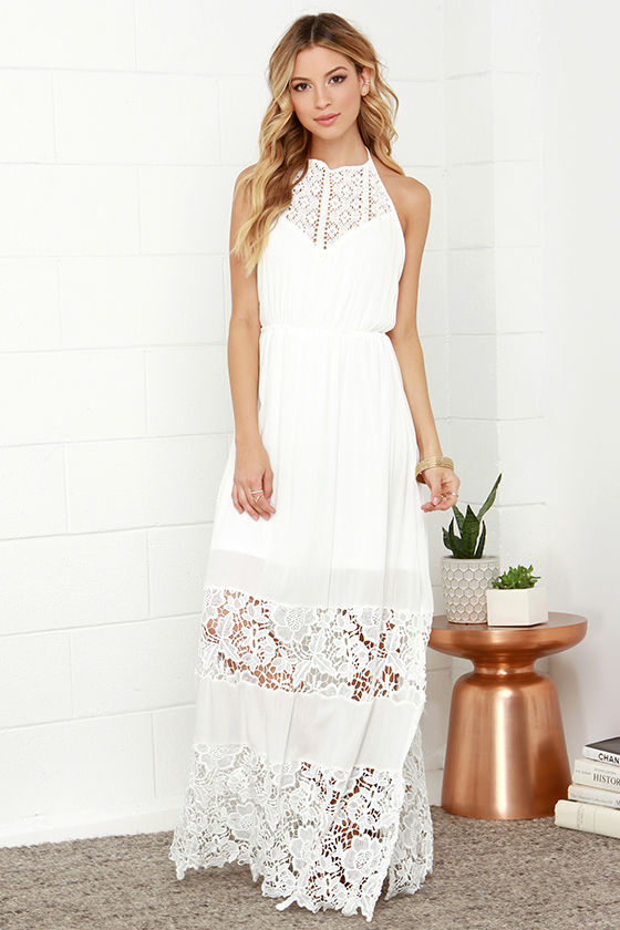 Ivory Dress - Maxi Dress - Lace Dress - Halter Dress - White Dress ...