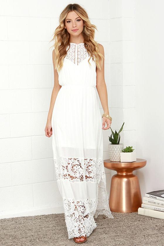 652af358a4d37 Ivory Dress - Maxi Dress - Lace Dress - Halter Dress - White Dress -  62.00
