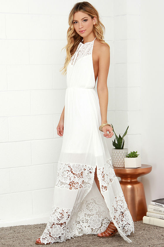 Ivory Dress - Maxi Dress - Lace Dress - Halter Dress - White Dress ...