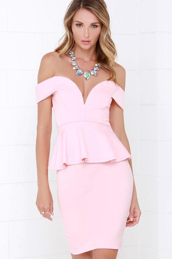 Sexy Peach Dress Off The Shoulder Dress Peplum Dress
