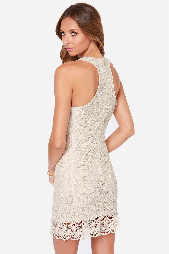 Lacer Vision Cream Lace Dress at Lulus.com!