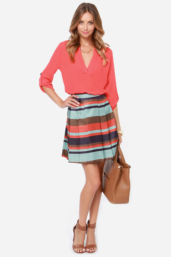 Pleat Chaser Blue Striped Skirt at Lulus.com!