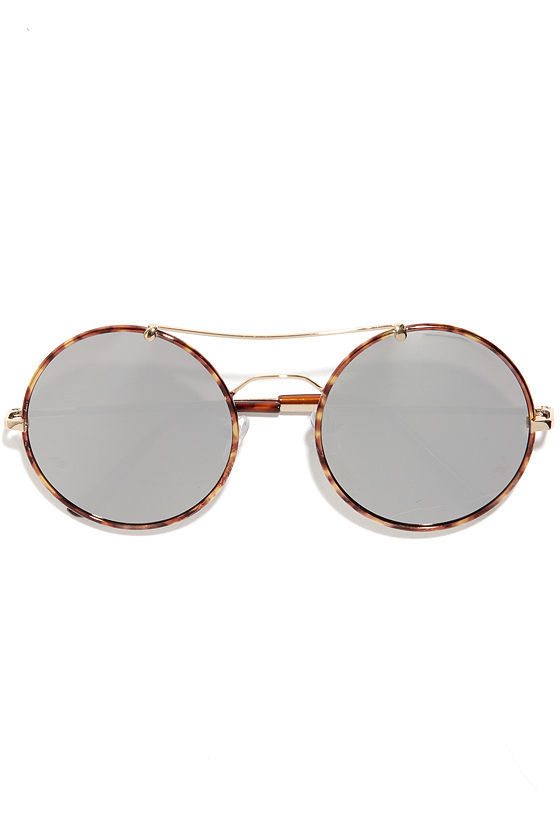 fe6a5902ae Cute Tortoise Sunglasses - Round Sunglasses - Mirrored Sunglasses ...