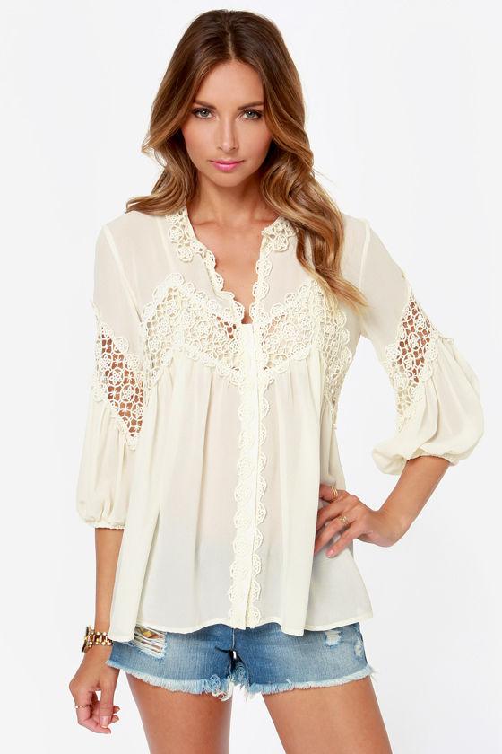 Pretty Cream Top Lace Top Sheer Top Crochet Top 6500