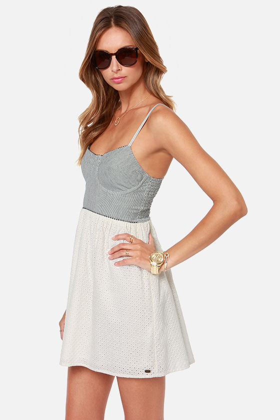 Roxy Now or Never Striped Lace Bustier Dress at Lulus.com!