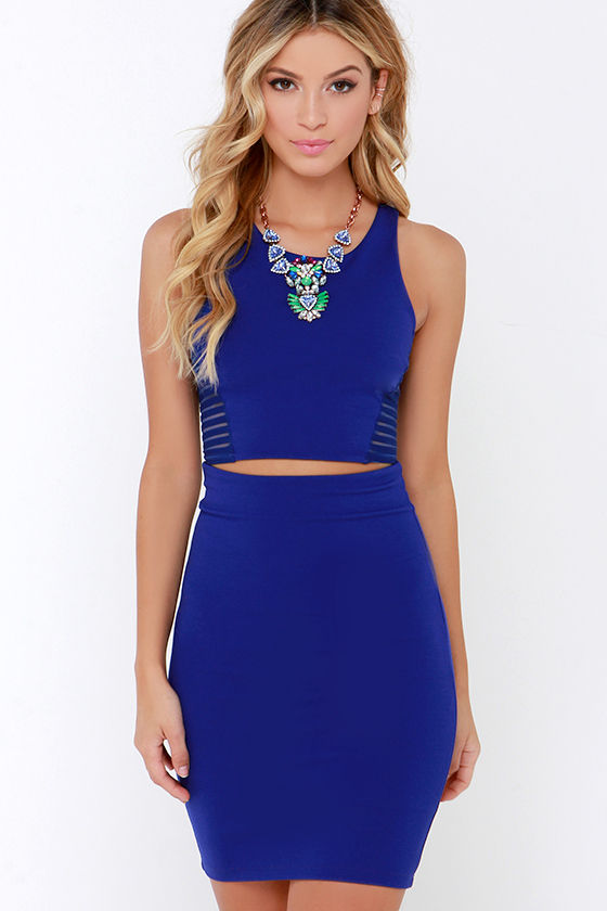 Royal Blue Two-Piece Dress - Bodycon Dress - Sleeveless Dress - $54.00