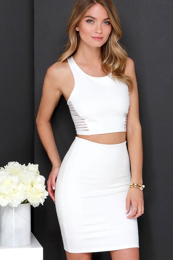e49546b1c607 Ivory Two-Piece Dress - Bodycon Dress - Sleeveless Dress -  54.00