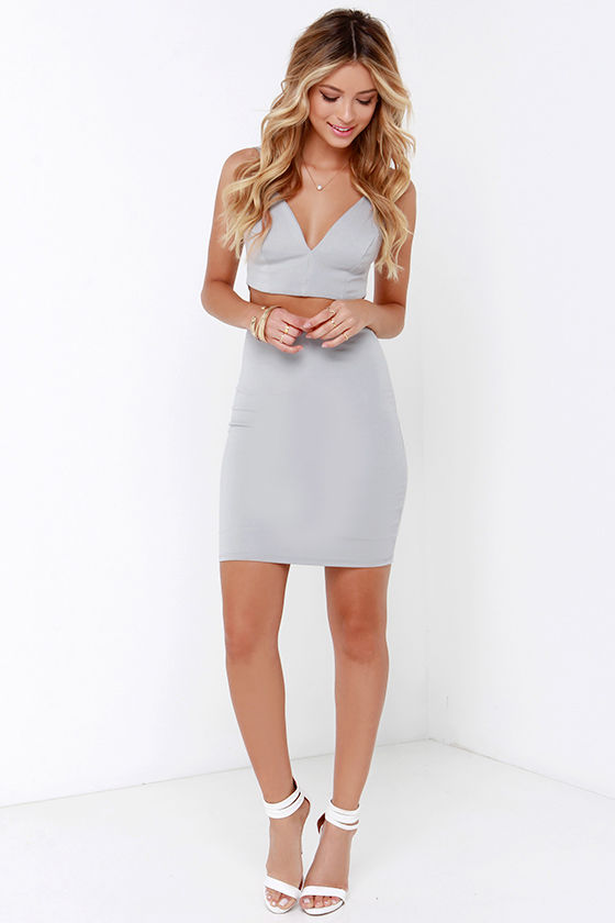 Light Grey Dress - Two-Piece Dress - Bodycon Dress - $58.00