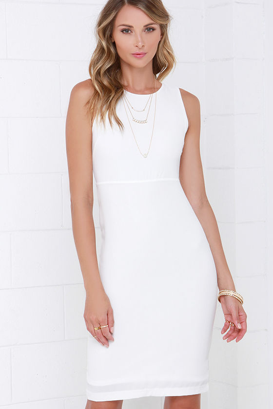 Ivory Dress - Midi Dress - Bodycon Dress - White Dress - $44.00