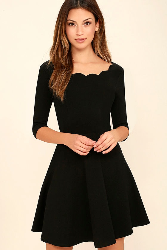 Little Black Dress - Scalloped Dress - Skater Dress - $46.00